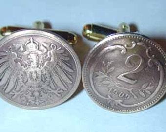 Coin cuff links-Antique Austrian 2 Heller cuff links- free shipping