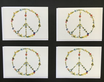 "Set of 4 Cards - Large ""Peace Sign"" Card Prints"