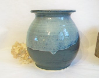 Vase - Vessel - Container -- Cream over Slate -- Made on the Wheel - OOAK - Ready to Ship