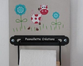 """Reel dispenser, dispenser, door original, wooden toilet paper rolls. Humorous """"funny"""" cow."""