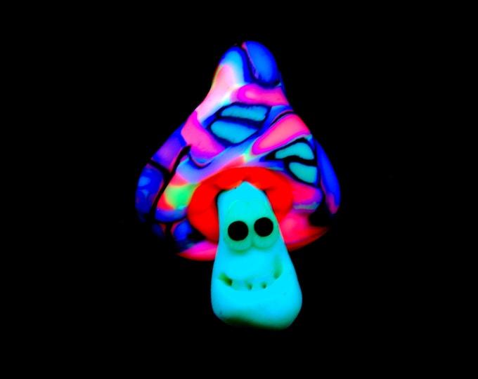 Mushroom UV Blacklight Clay Psytrance Necklace