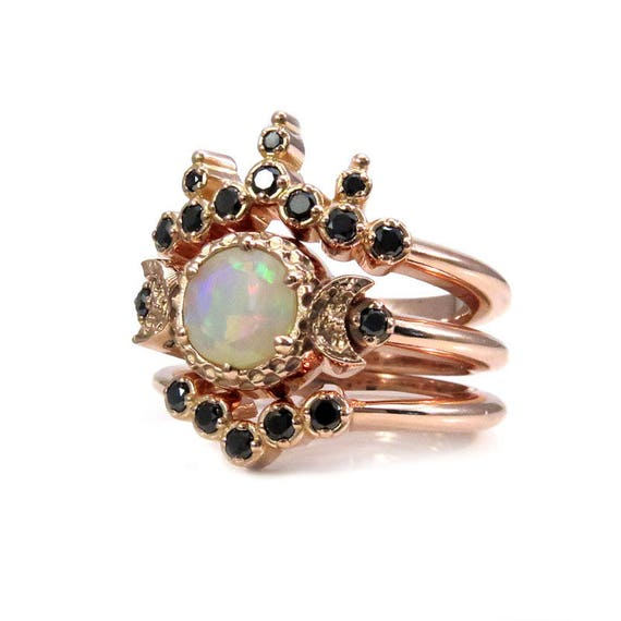 Celestial Bands: Celestial Priestess Opal And Black Diamond Engagement Ring Set