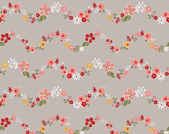 Sweet Prairie Gray Floral Fabric by Down Grapevine Lane for Riley Blake Fabrics