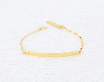Gold Bar Bracelet dainty Nameplate bar bracelet layering skinny gold filled bar bracelet everyday jewelry.
