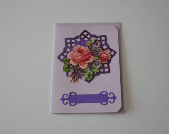Card with 3D flowers purple