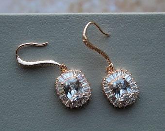 Rose gold  Bridal Earrings , Wedding Earrings, Wedding Jewelry ,Cubic Zirconia  Earrings, Crystal Teardrop Earrings, Wedding jewelry ,UK