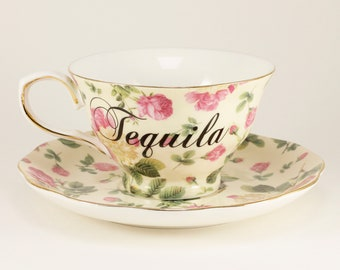 TEQUILA New Porcelain 7 oz. Teacup & Saucer, Cream with Roses CUSTOMIZABLE