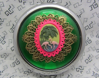Pink Flamingo Compact Mirror Comes With Protective Pouch