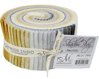 """Jelly Roll Fabric Strips Neutrals Blenders - Maywood Studio Shadow Play Neutrals - 40 strips 2.5"""" wide - 100% Cotton Precut Strips"""