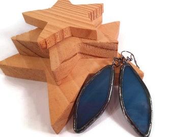 Denim Blue Earrings Stained Glass Earrings Spear Earrings Glass Metal Jewelry Handmade Earrings Dangle Drop Earrings Blue Earrings For Her