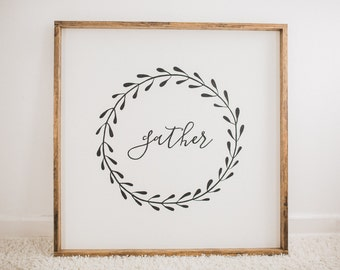 GATHER // 36x36  // Painted wood sign, wall decor (Rustic Chic, Modern Farmhouse, Fixer Upper)