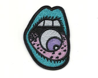 UFO Alien Stylized Mouth With Eyeball Embroidered Iron-On Patch - Teal Pink & Purple Adhesive Alien Life Chaos Creation Embroidery Patch