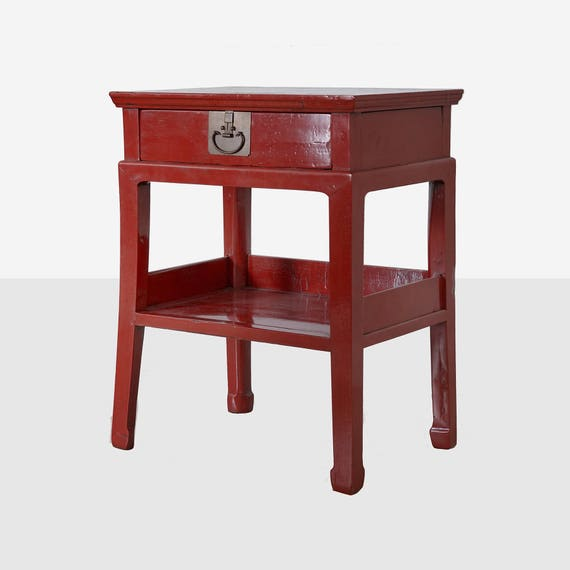 Antique Chinese Red Lacquer One Drawer Table Chinese Red