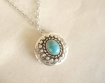 Silver Turquoise Locket Necklace Turquoise Necklace  Locket Necklace Locket Jewelry