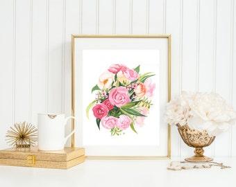 Pink Floral Art Print (Watercolor Illustration - Floral Art Print - Art - Home Decor - Wall Art - Farmhouse Decor)