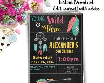 Tribal Birthday Invitation, Tribal Invite, Tribal invitation, Tribal, Birthday Invitation, Invitation