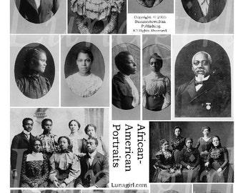 AFRICAN AMERICAN PHOTOS, digital collage sheet, vintage images, Victorian ladies women men, Black History, altered art ephemera Download
