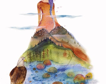 The Vale - Watercolor Art Giclee Mountain Lady Print Available in Paper & Canvas By Olga Cuttell