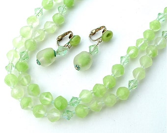 Lime Green Vintage Frosted Glass Double Strand Mad Men Necklace Earring Retro Jewelry Set
