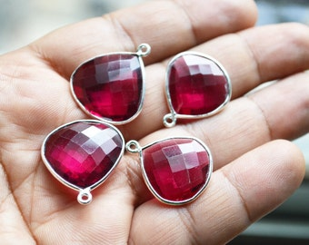 92.5 Silver Plated RubyLight Pink Quartz Heart Shape Faceted Pendant  ,3 Piece of 19mm