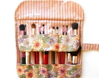 Floral Makeup Brush Holder, Travel Cosmetic Brush Organizer, Makeup Brush Carrier, Makeup Brush Bag, Brush Roll Up, Makeup Storage Pouch