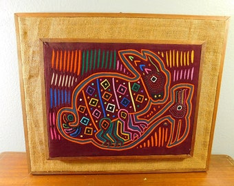 Vintage Mola, Panamanian textile art,  rabbit and bird, burlap framed