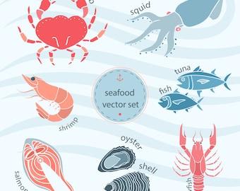 Seafood Clip Art Set-crab clip art, shrimp clip art, salmon clip art, oyster clip art, fish clip art, squid clip art, seafood digital art