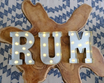 Metal RUM Sign with lights, Bar Sign For weddings, Marquee Letter, Light up letters, Man Cave, Rum bar