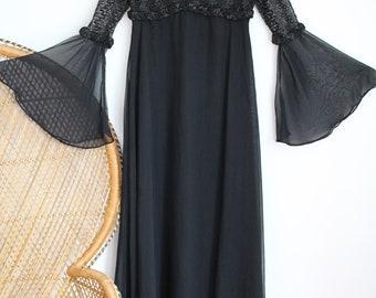 Vintage black sheer 60s 70s maxi angel sleeves blouse dress S