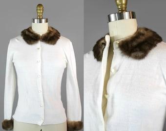 1980s Cream Mink Trimmed Sweater / 80s Button Up Fur Trim Cardigan