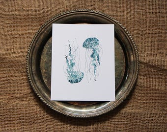 Jellyfish, 8x10 Watercolor Print, The Dance in Blue, Sea Life, Pacific Northwest, Home Decor, Wall Art