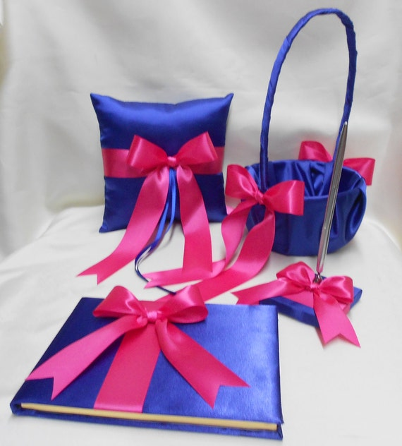 Wedding accessories royal blue fuchsia hot pink flower girl wedding accessories royal blue fuchsia hot pink flower girl basket ring bearer pillow guest book pen set your colors mightylinksfo Images