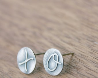 Hugs and Kisses Earrings, XO, oxidized sterling silver