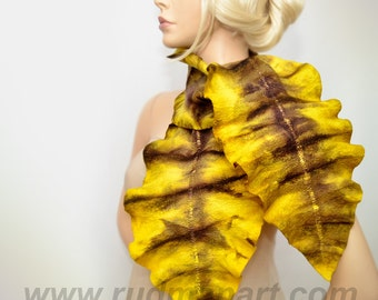 Felted Scarf made from Wool and Silk scarf Yellow Brown