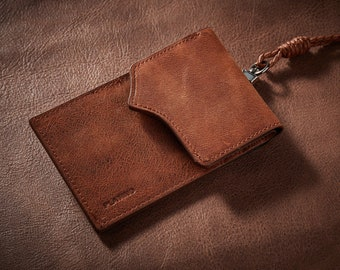 Genuine Leather ID Card Holder Wallet Purse Credit Card Case with Lanyard Neck Strap