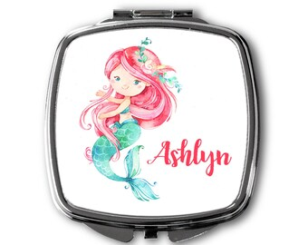 Personalized Compact Mirror ~ Mermaid Compact Mirror ~ Ocean Mirror ~ Monogrammed Compact Mirror ~Bridesmaid Gift ~ Flower Girl Gift ~