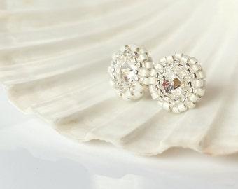 Swarovski Earrings- Stud Earrings- Bridesmaid Gift Jewelry- Flower Girl Gift- Swarovski Crystals Earrings- Bridal Earrings- Round Earrings