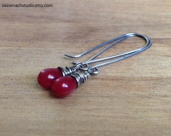 Cherry Red Glass Earrings with Sterling Silver / Smooth Czech Beads / Wire Wrapped / Oxidized Cranberry / Gifts for Her Mom Under 20