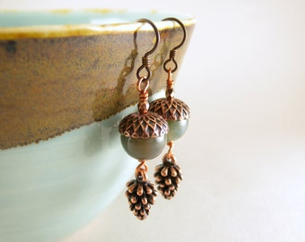 Celadon Green Jasper Stone Acorn and Copper Pinecone Earrings with Free USA Shipping