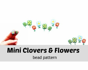 Brick Stitch Patterns, 4 Leaf Clovers and Flowers