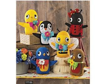 "Simplicity 8540 Felt Stuffed Birds, Bee and Ladybug  Sewing Pattern, New Uncut DIY Stuffed toys, 8"" tall"