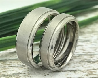 8mm/6mm His and Hers Titanium Wedding Ring, Personalize Engrave Titanium Band, Titanium Couples Ring, Anniversary Band, Brushed Finish