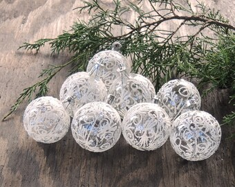Vintage Small Glass Clear and Frosted Ornaments Set of 8 Made in Romania Boxed Christmas Ornaments Holiday Decor Tree Decorations