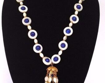 Signed William Delillo Lapis Lazuli Mother of Pearl Bead Tassel Necklace Gold Tone 1960 William Delillo Gemstone Tassel Statement Necklace