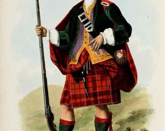 Clan Cameron ~ Scottish Highlander ~ Traditional Tartan and Arms ~ Kilt Tartan - Scottish Clan Poster - Gaelic Clan Art - Scotland Poster