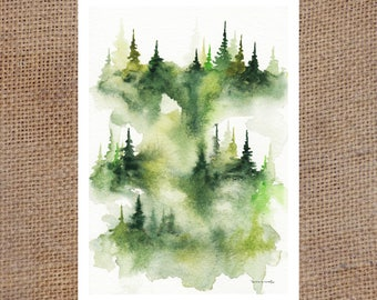Drippy Green Trees - Watercolor Print