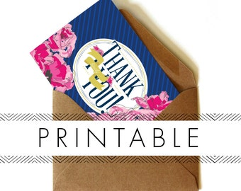 Derby Thank You Note Printable in Navy
