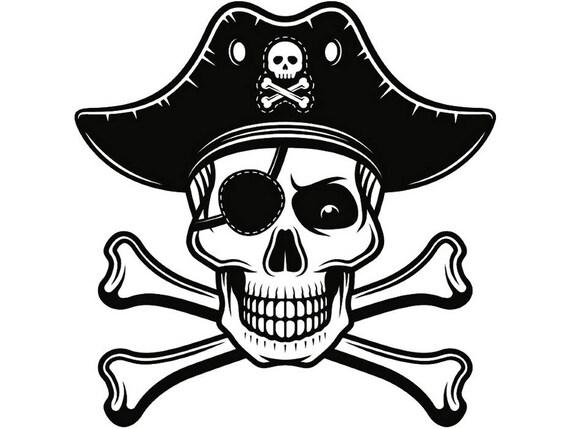 pirate skull 4 crossbones eye patch jolly roger hat ship boat rh etsy com