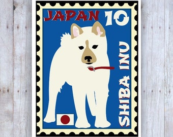 Shiba Inu Art, Shib Inu Poster, Shiba Inu Stamp, Stamp Art, Dog Stamp Art, Shib Inu Picture, Japanese Stamp, Dog Poster, Dog Art, Dog Print