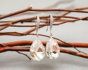 Bridesmaid Earrings Set of 5 Clear Crystal Teardrop Bridal Earrings